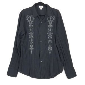 Pop Icon crinkle embroidered black shirt A0462
